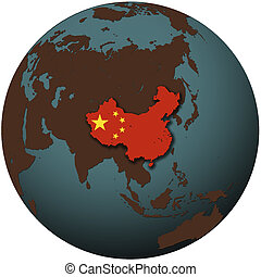 china on earth - 3d view from space on southern hemisphere...
