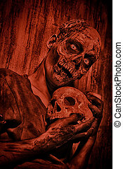 frightening - Frightening bloody zombie man with a skull in...