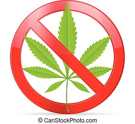 prohibition marijuana - Prohibition marijuana symbol on a...