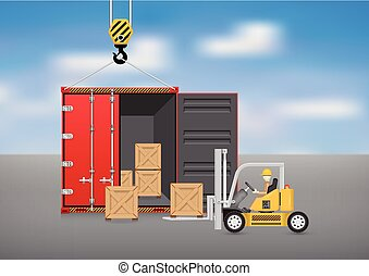 Container - Forklift working with wood crate and cargo...
