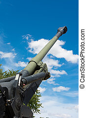 Old Howitzer gun barrel aimed skyward - Howitzer gun barrel...