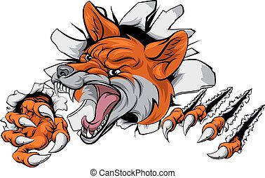 Fox mascot tearing through - An illustration of a fox animal...