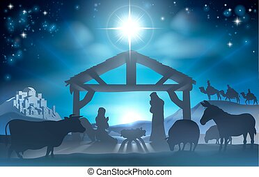 Christmas Nativity Scene - Traditional Christian Christmas...