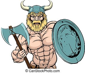Viking Warrior mascot - An illustration of a tough looking...