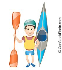 cartoon boy with a canoe. vector illustration