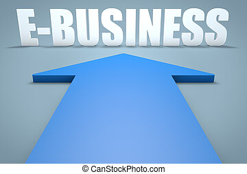 E-Business - 3d render concept of blue arrow pointing to...