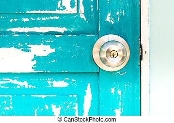 wooden door with door knob