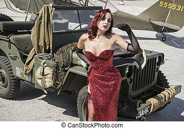 Wwii, pinup dressed in era of the Second World War on a...