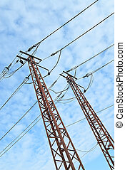 metal energy high electrical tower in modern factory
