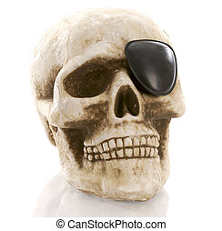 human skull with eye patch on white background