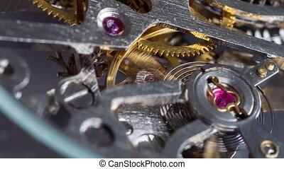Macro shot of interior of a watch - Closeup shot of the...