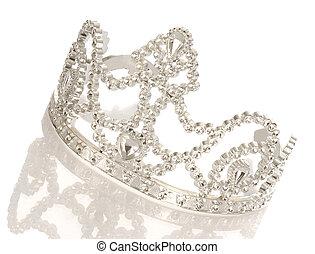 tiara, o, corona, reflexión, aislado, blanco, Plano...
