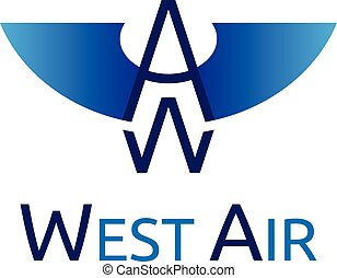 West Air logo template. EPS 10 vector illustration, no...