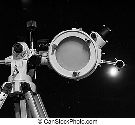 Black and white Astronomical telescope - Astronomical...