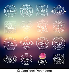 Yoga logo sport icons. Vector with elements.