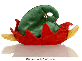 color christmas elf hat with reflection on white background