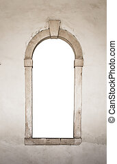 Ancient stone window white isolated - Ancient stone window...