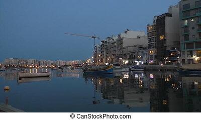 Malta traditional boat at night - Beautiful Malta island...
