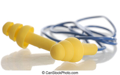 protective ear plugs with reflection on white background