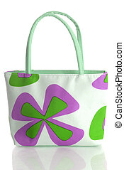 colorful canvas hand bag with reflection on white background