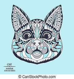 Zentangle stylized cat. Sketch for tattoo or t-shirt.