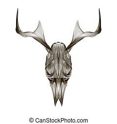 Deer skull. 3d style vector for print, tattoo, t-shirt. -...