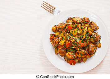 vegetables with mushrooms