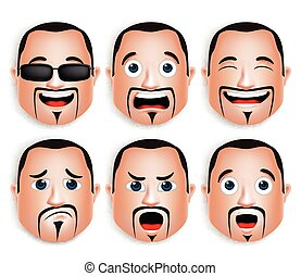 Set of Man Head Facial Expressions