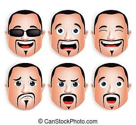 Set of Man Head Facial Expressions - Set of 3D Realistic Big...