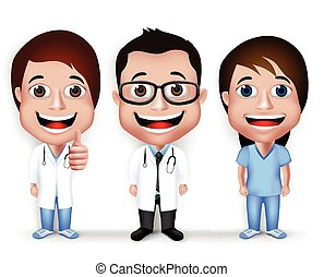 Professional Doctor Character Set - Collection Set of...