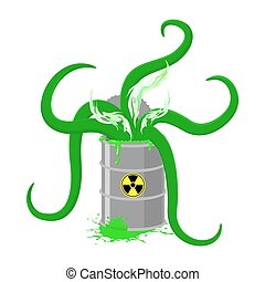 Barrel of Toxic waste and green tentacles. Vector illustration of a Biohazard container. Gray radioactive barrel