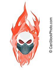 Skull protective mask against a backdrop of flames. Vector artwork for tattoos
