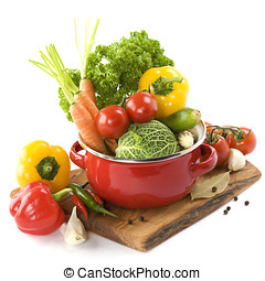 soup time - Ratatouille or soup vegetables in a cooking pot...