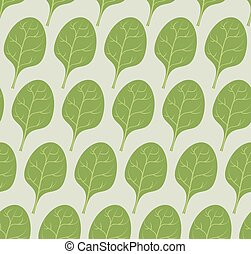 Spinach background Vector seamless pattern from green leaves...