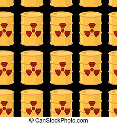 Yellow barrels of radioactive substance seamless pattern....