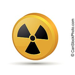 Nuclear symbol - Three dimensional nuclear symbol isolated...