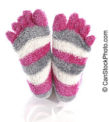 pink fuzzy toe socks with reflection on white background