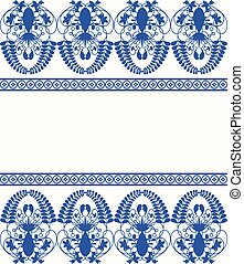Gzhel style border pattern Blue porcelain russian or chinese...