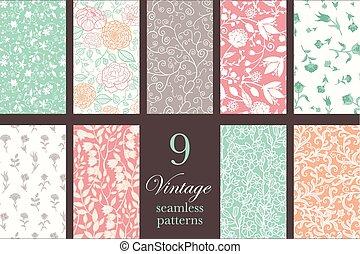 Vector Vintage Floral Elegant 9 Set Seamless Pattern -...