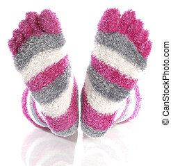 fuzzy pink toe socks with reflection isolated on white background