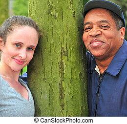 Interracial couple.