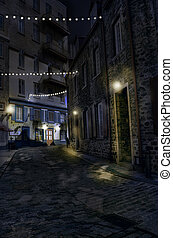 Old Quebec street at night,hdr.