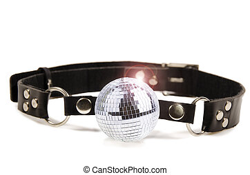 Disco ball gag, isolated on white background