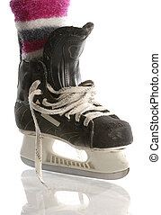 girls hockey - hockey skate with pink socks isolated on...