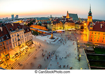Top view of the old town in Warsaw - Top view of Royal...