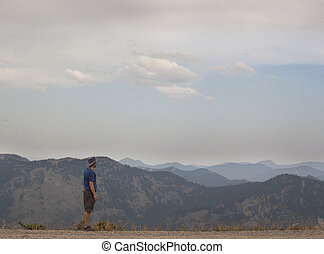 homem, montanha,  Hiking, alpino