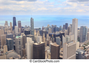 Chicago Cityscape Blur - Blurred background of aerial view...
