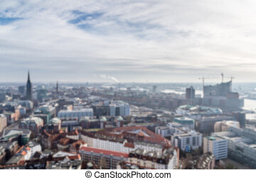 Hamburg Cityscape Blur - Blurred background of view over the...