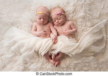 Sleeping Twin Baby Girls - Seven week old fraternal, twin...