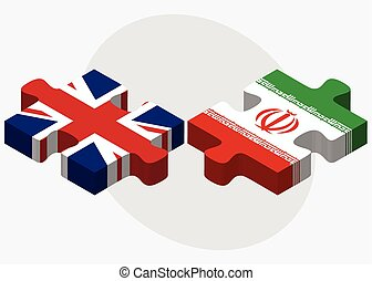 United Kingdom and Iran Flags in puzzle isolated on white...